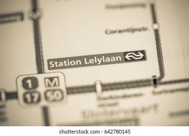 Lelylaan Station. Amsterdam Metro map.