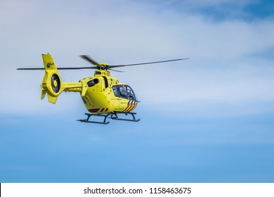 Lelystad Airport, Lelystad, The Netherlands - August 8 2018: Dutch emergency trauma helicopter, rescue helicopter