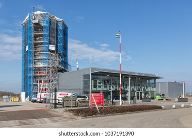 Lelystad, The Netherlands - February 02, 2018: Control tower Lelystad Airport under construction. Lelystad is planned be the second Airport of The Netherlands behind Schiphol