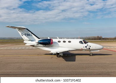 Lelystad, The Netherlands - February 02, 2018: Dutch Lelystad Airport with private Cessna Citation Mustang at runway