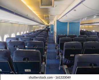 LELYSTAD, NETHERLANDS - JULY 2: Inside the passenger cabin of a jumbo jet airliner  on display at Lelystad Airport on July 2, 2013