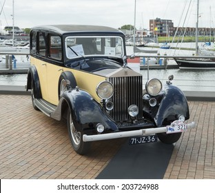 LELYSTAD, THE NETHERLANDS - JUNE 15, 2014: 1936 Rolls Royce 25/30 Hooper on display during the annual National Oldtimer day