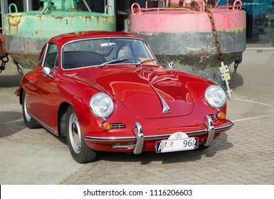 LELYSTAD, THE NETHERLANDS - JUNE 17, 2018: 1964 Porsche 356 SC on display during the annual National Oldtimer day. Non-ticketed public event held in the streets.