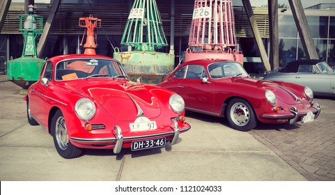 LELYSTAD, THE NETHERLANDS - JUNE 17, 2018: 1965 Porsche 356 C (97), 1964 Porsche 356 SC (96) during annual National Oldtimer day. Non-ticketed public event held in the streets. Instagram-like filter