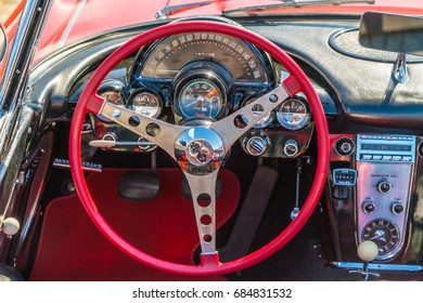 Lelystad, The Netherlands, June 18, 2017: Cadillac Corvette Oldtimer interior  at the annual  national oldtimer day in Lelystad