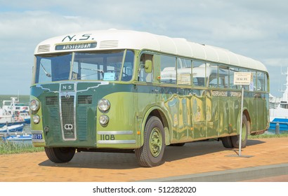 LELYSTAD, THE NETHERLANDS - JUNE 19, 2016: 1947 Crossley de Schelde bus on display during the annual National Oldtimer day. Non-ticketed public event held in the streets of the city