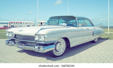 LELYSTAD, THE NETHERLANDS - JUNE 19, 2016: 1959 Cadillac Fleetwood 60 S on display during the annual National Oldtimer day. Non-ticketed public event held in the streets. Instagram-like filter