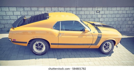 LELYSTAD, THE NETHERLANDS - JUNE 19, 2016: 1970 Ford Mustang Sportsroof Boss on display during the annual National Oldtimer day. Non-ticketed public event held in the streets. Instagram effect