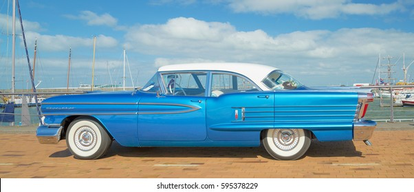 LELYSTAD, THE NETHERLANDS - JUNE 19, 2016: 1958 Oldsmobile 88 Holiday on display during the annual National Oldtimer day. Non-ticketed public event held in the streets of the city