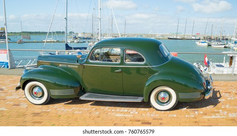 LELYSTAD, THE NETHERLANDS - JUNE 19, 2016: 1941 Packard 120 Business Coupe on display during the annual National Oldtimer day. Non-ticketed public event held in the city streets.