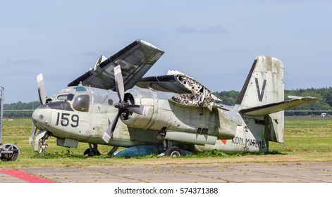Lelystad, the Netherlands - June 9, 2016; Old Grumman S-2A Tracker waiting to be restored at Lelystad Airfield, the Netherlands on June 9, 2016.