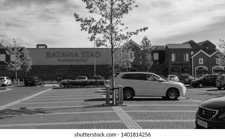 LELYSTAD, NETHERLANDS - MAY 15,2019: The first fashion outlet center in the Netherlands, located in main city of Flevoland. The shopping mall is named after the Dutch ship Batavia from 17th centuries