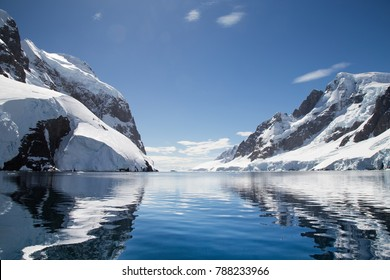 The Lemaire Channel, Antarctic Peninsula. A popular tourist attraction for expedition vessels visiting the region.