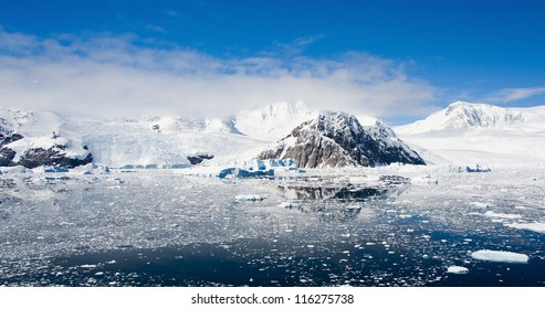 Lemaire channel in Antarctica, bright sunny day