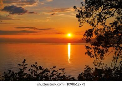 Leman Geneva lake sunset in Switzerland Swiss
