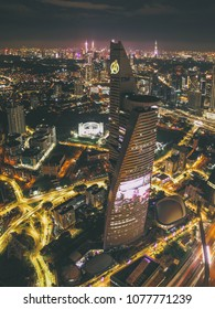 Lembah Pantai, Kuala Lumpur Malaysia. April 25 2018. Telekom Tower tranform to Avenger's Stark from aerial view perspective. It is part of calloboration between Marvel Malaysia with TM