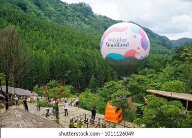 Lembang ,Bandung , Indonesia - 15 January 2018 : Aerial view of Adventure Park at The Lodge Maribaya, Bandung.
