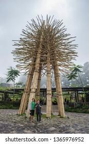 Lembang, Bandung, Indonesia - CIRCA July 2014: An abstract decoration made from bamboo poles, in Dusun Bambu, Lembang, Bandung, West Java, Indonesia. Dusun Bambu is a popular natural resort and hotel.