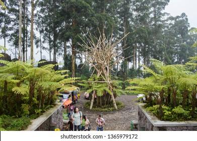 Lembang, Bandung, Indonesia - CIRCA July 2014: Natural scenery in Dusun Bambu, Lembang, Bandung, West Java, Indonesia. It is a popular natural resort and hotel.
