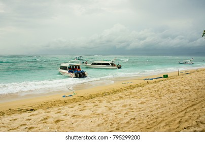 LEMBONGAN, INDONESIA - MARCH 21: a beach on March 21, 2017 in Lembongan, Indonesia. Lembongan Island is a popular tourist destination and only a short boat ride from Bali.