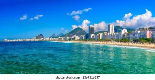 Leme and Copacabana beach in Rio de Janeiro, Brazil. Copacabana beach is the most famous beach in Rio de Janeiro. Panoramic cityscape of Rio de Janeiro