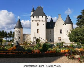 Lemere, Indre et Loire/France - 11/02/2018 : Rivau Castle near Chinon and Halloween decoration. Castle of the Loire.