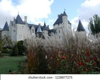 Lemere, Indre et Loire/France - 11/02/2018 : Rivau Castle near Chinon and garden. Castle of the Loire.