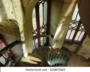 Lemere, Indre et Loire/France - 11/02/2018 : Stairs inside the castle of Rivau. Castle of the Loire.