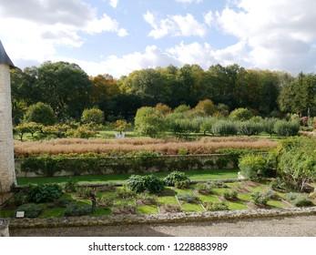 Lemere, Indre et Loire/France - 11/02/2018 : French garden of Rivau castle. Castle of the Loire.