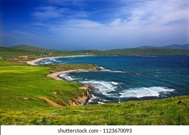 "LEMNOS ISLAND, NORTH AEGEAN, GREECE. View of  Evgatis (also known as ""Nevgatis"") beach."