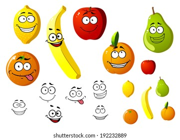 Lemon, apple, orange, banana, pear and peach fruits logo in cartoon style. Vector version also available in gallery