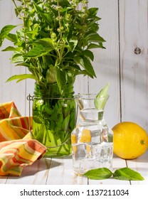 Lemon Basil water in country kitchen