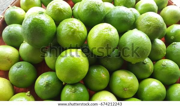 Lemon in a basket.The success of agriculture. Abundant nature