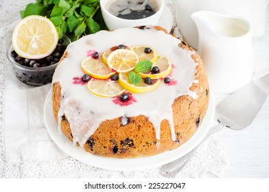 Lemon blueberry cake with icing, selective focus