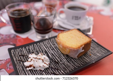 lemon cake and coffee