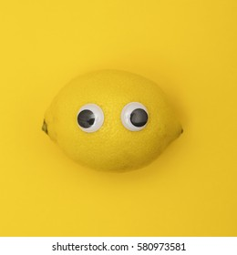 Lemon character with googly eyes