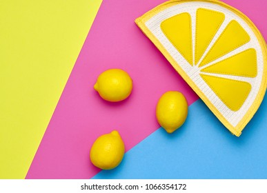 Lemon Citrus fruit. Fashion Summer Hipster Accessories Set. Trendy Yellow Clutch. Hot Sunny Vibes. Creative Bright Color. Minimal Style. Flat lay. Pop Art fashionable summertime Design