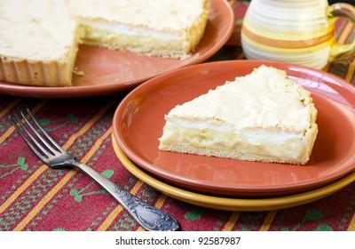 Lemon and coconut meringue pie