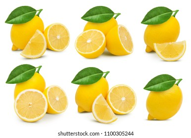 lemon collection with leaf isolated on white background