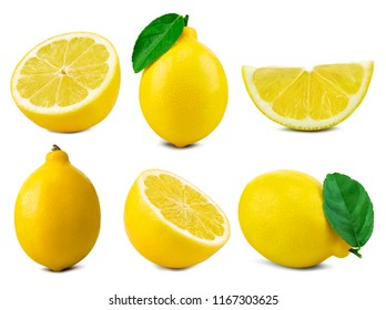 lemon collection with leaf isolated on white Clipping Path