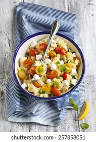 Lemon Couscous with Cherry Tomatoes, Mint and Feta.