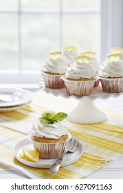Lemon cupcakes and cakestand