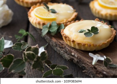 lemon curd tarts on the table with flowers on the bark of tree.