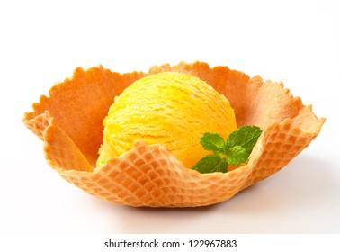 Lemon custard ice cream in a wafer bowl