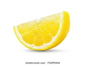 Lemon and cut half slice isolated on white background