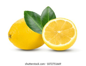 Lemon and cut half slice with leaf isolated on white background