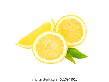 Lemon cut into round pieces isolated white background