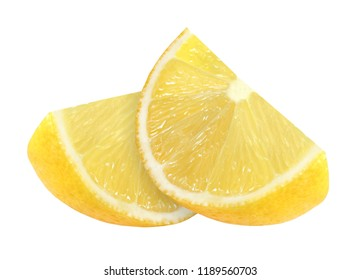Lemon cut into two slices isolated on white with clipping path