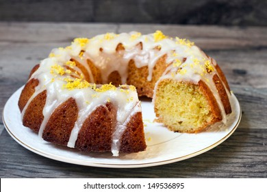 Lemon drizzle bundt cake on plate