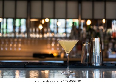 Lemon Drop cocktail on the bar at a Bistro